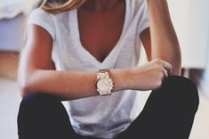 Women's casual outfit x white vneck tshirt x black jeans x dressed up with classic MK watch