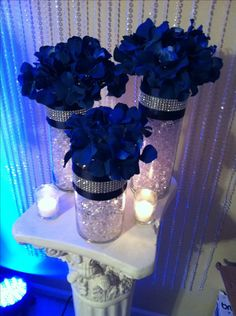 royal blue and silver wedding decorations discover thousands of images about royal blue silver centerpieces royal blue wedding decor pictures<br> Silver Wedding Decorations, Quince Decorations, Quinceanera Decorations, Table Decorations, Wedding Ideas Royal Blue And Silver, Quinceanera Party, Birthday Decorations, Blue Wedding Centerpieces, Silver Centerpiece