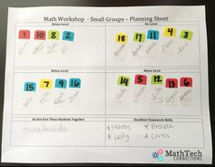 math workshop - small groups - planning sheet