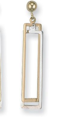 9ct White & Yellow Gold Rectangle Earrings