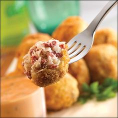 Sauerkraut Reuben Balls  @Sara Belair this is all you girl!  You should totally make these for allies potluck