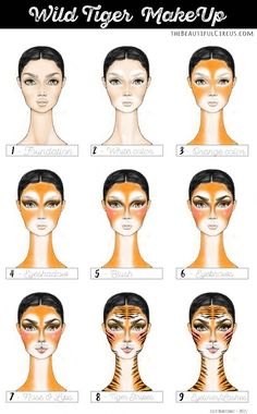 tiger costume makeup - Best Jeans That Make Your Butt Look Good Halloween Looks, Halloween Make Up, Tiger Halloween Costume, Kids Tiger Costume, Cat Halloween Makeup, Tinta Facial, Jungle Costume, Tiger Face Paints, Wild Tiger