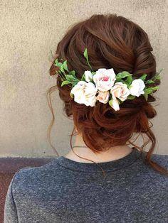 Wedding flower comb Bridal hair piece Hair vine Peach rose Ivory flower Bohemian headband Floral hair accessory Floral and leaves vine