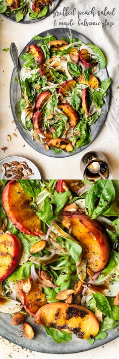 #salad #peach #peaches #glaze #balsamicglaze #maple #balsamicreduction #vegan #grilledpeaches #grilled #glutenfree #healthy #cleaneating #clean