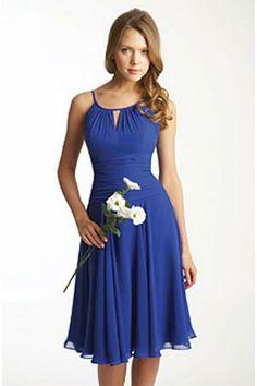 Blue knee length Bridesmaid dress