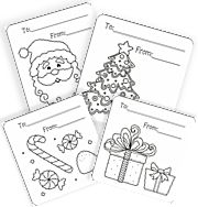 Free Coloring Cards & Tags For Christmas | Squishy-Cute Designs
