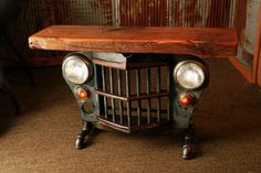 """This amazing jeep table is made to order. Feel free to call and discuss grille color and options. Ships free to a USA address Amazing 1950's Jeep/Willys grille table, Each table has a unique serial number and signed, (serial numbers can be tracked on our website) Copyrighted design, We have registered this design with the copyright office as a work of art/sculpture The chunky 3"""" thick barn wood tops are made from a old Minnesota barn wood We have a several grilles on hand and can make a..."""