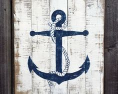 Aye Aye Sailor - Nautical Decor Inspiration - Beach Bliss Living , You could make these easy breezy! Other cute single images too: heart, pineapple, star, etc. Arte Pallet, Pallet Art, Deco Marine, Nautical Bathrooms, Nautical Kitchen, Distressed Painting, Beach Signs, Beach Crafts, Seashell Crafts