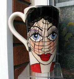 Handpainted Ceramic Pottery FACE Coffee MUG by artistsloftppaquin1, $40.00