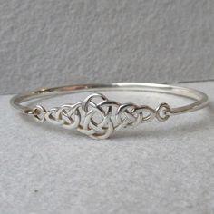 Vintage Kit Heath Sterling Silver Front Latch Celtic Knot Bangle Bracelet