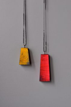 Julia Turner, Ballast Pendants (Yellow and Pink), Maple, cord, oxidized sterling silver, Japanese glass beads
