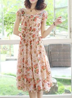 Full Floral Print Self-Tie Bohemian Style Scoop Neck Short Sleeve Women's Dress