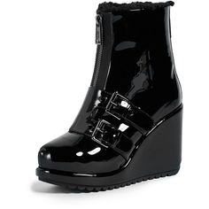 Marc Jacobs Hope Wedge Winter Booties ($425) ❤ liked on Polyvore featuring shoes, boots, ankle booties, black, platform wedge booties, wedge booties, black boots, black platform boots and black platform ankle booties