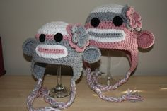 Free crochet patterns - Sock Monkey hats! Omg the flowers too cute!