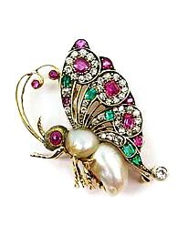 19th century ruby, diamond, emerald and pearl butterfly brooch, c.1890
