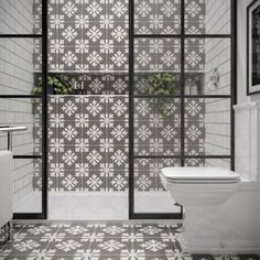Dali Patterned Wall And Floor Tile 25 x This Tile has a grey background with a white pattern. Unlike our other design tiles they do not need to be rotated to match the pattern. Glazed Ceramic Tile, Ceramic Floor Tiles, Wall And Floor Tiles, Wall Tiles, Floor Patterns, Wall Patterns, Kitchen Installation, Style Tile, Bathroom Wall