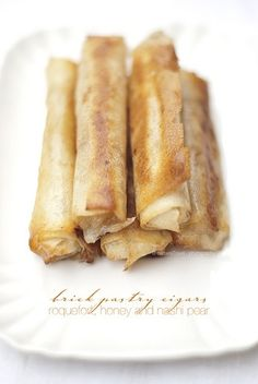 New in my foodblog today: brick pastry cigars with blue cheese, nashi pear and honey www.pane-burro-en.blogspot.com