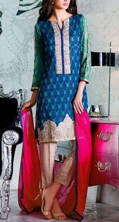 Buy Sea Green/Blue Embroidered Chiffon Salwar Kameez by Charizma 2015 Call…