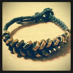 My Hex Nut Bracelet - used waxed cotton cord and nuts in varying sizes