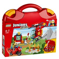 Buy LEGO Juniors - Fire Suitcase at Mighty Ape NZ. Fly to the rescue in the speedy helicopter and put out the fire! Put fires out wherever you go with the LEGO® Juniors Fire Suitcase! Lego Juniors, Toddler Toys, Kids Toys, Baby Toys, Lego Junior Sets, Ri Happy, Best Lego Sets, Construction Lego, Lego Building Sets