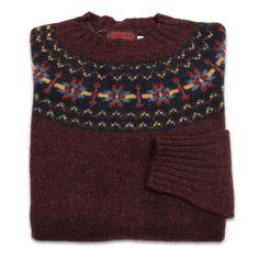 O'Connell's Womens Scottish Shetland Sweater - Fair Isle - Merlot