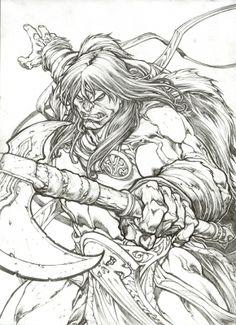 Paolo Pantalena- Conan Attacks Comic Art