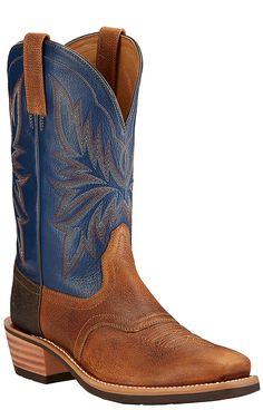 Ariat Heritage Saddleback Men's Copper Kettle with Navy Top Punchy Square Toe Western Boots | Cavender's
