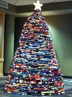 A library christmas tree