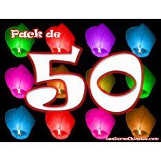 Paquet de 50 lanternes volantes couleurs mélangées