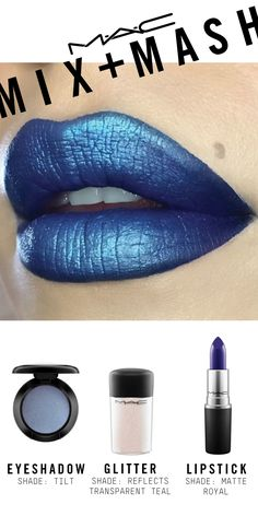 Created using Lipstick in Matte Royal, Eye Shadow in Tilt, Glitter in Reflects Transparent Teal, and a dab of VIVA GLAM Ariana Grande Lipglass in the center