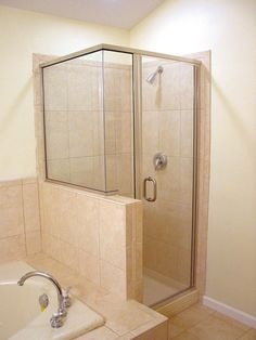 Oasis semi-frameless corner shower in inch grass features a notched and return panel, Glass Corner Shower, Corner Shower Stalls, Half Wall Shower, Frameless Shower Enclosures, Frameless Shower Doors, Glass Shower Doors, Glass Doors, Bathroom Sets, Small Bathrooms