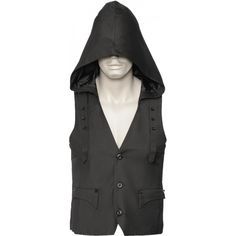 A modern men's vest with unique pocket design and hood, from the Queen of Darkness brand of gothic clothing.