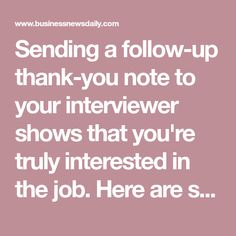 Sample Thank-You Letters to Send After a Job Interview