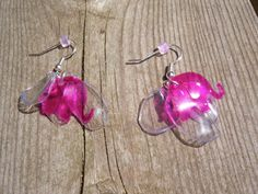 Upcycled Plastic Water Bottle Hot Pink Elephant earrings