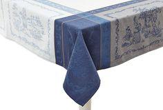 Romance Jacquard Tablecloth, Blue on OneKingsLane.com