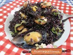 riso venere gamberetti cozze e zucchine