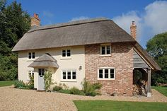 ADAM Architecture - Cottage Refurbishment & Extension in Hampshire - AFTER - front elevation Brick Cottage, Cottage Windows, Cottage Porch, Cottage Living, Brick Extension, Extension Ideas, Building Extension, English Cottage Exterior, Cottage Extension