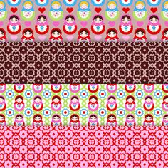 Cute Matryoshka Digital Paper Retro Scrapbook by DigitalDollFace