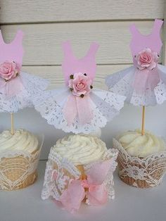 Paper Lace Party Dress Cupcake Toppers for Princess Birthday Party Birthday…