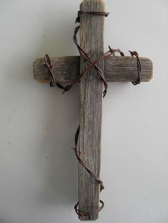 "12"" Rustic Western Barnwood Cross with Rusty Barb Wire Wrapped Religious 