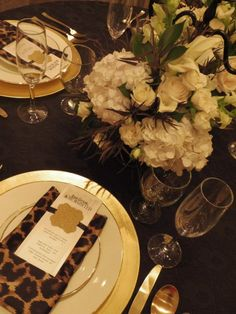 EmbellishProductions   #black and gold  leopard print napkin