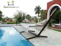 This original and contemporary designed stand offers the ideal luxury base for our deluxe range of hammocks, the ultimate in outdoor luxury. Hammock Accessories, Hammock Stand, Hammocks, Pine Tree, Outdoor Furniture, Outdoor Decor, Hooks, It Cast, Iron