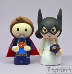 Items similar to Wedding Cake Topper - Superhero Bride & Groom on Etsy Wedding Cake Toppers, Wedding Cakes, Superhero Cake Toppers, Bride Groom, Smurfs, Sonic The Hedgehog, Unique Jewelry, Handmade Gifts, Fictional Characters
