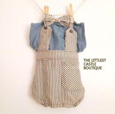 Handmade Photo Prop Newborn to 3 Months Baby Boy Bow Tie Onesie The Littlest Castle Boutique.  via Etsy.