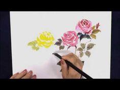 友澤蘭香15 薔薇 バラ 水墨画 sumi-e rose ranka - YouTube