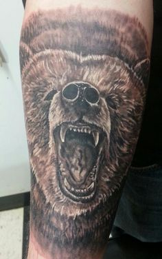 Grizzly Bear Tattoo Black and Grey