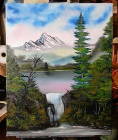 On instagram by kr.punk #landscape #contratahotel (o) http://ift.tt/1Nys4iV Falls #bobross #painting #oilpainting  #scenery #mountains #lake #wilderness #alaska #waterfall #artoftheday #instaart #talnts #artwork #art #happytrees #evergreens #naturelovers #paintingoftheday