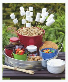 S'mores on a stick would be a great dessert for a backyard barbecue! #MemorialDay #summer
