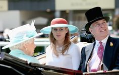 Quen Elizabeth, Princess Beatrice and Prince Andrew arive in the Parade Ring as they attend Ladies Day on the 3 day of Royal Ascot June 18/15