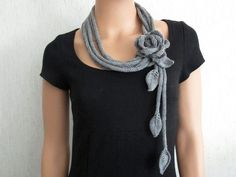 Crochet Patterns Scarf Chains long – knit scarf knit necklace with flower merino wool – a designer piece Spool Knitting, Knitting Socks, Free Knitting, Crochet Scarves, Knit Crochet, Scarf Knit, Crochet Chain Scarf, Crochet Round, Knitted Necklace